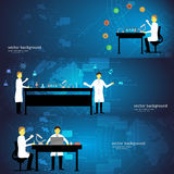 Set of chemistry laboratory with doctors. Vector illustration Royalty Free Stock Photo
