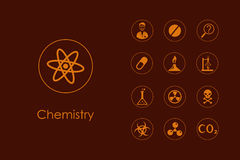 Set of chemistry simple icons Stock Photos
