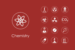 Set of chemistry simple icons Royalty Free Stock Images