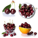 Set from cherry berries. isolated on white Royalty Free Stock Images