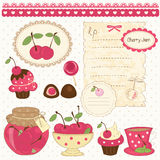 Cherry scrapbook set Stock Photos