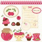 Cherry scrapbook set. Set of cherry design elements for scrapbook Stock Photos