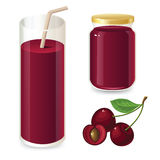 Set of cherry jam and cherry juice. Ripe cherry and cherry slices on a white background Stock Photo
