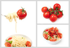 Set with cherry tomatoes and spaghetti Royalty Free Stock Photos