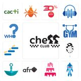 Set of chess club, shark mascot, cake company, afro, paper boat, milk level up, gym, who icons. Set Of 13 simple editable icons such as chess club, shark mascot Royalty Free Stock Images