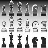 Set of Chess Figures, black, grey and white Stock Photography