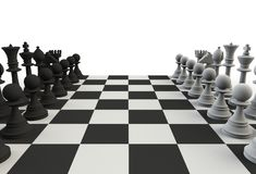 Set of chess figures on the playing board on white background royalty free stock photo