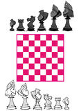 Set: Chess Game, Cartoon. Chess game on cartoon style Royalty Free Stock Photo