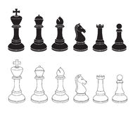 Set of Chess Icons in Black and White Royalty Free Stock Photo