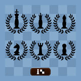 A set of chess pieces on a chess Board. In Laurel wreaths stock illustration