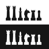 Set of chess pieces. Flat style. Black and white silhouettes of Figures. Isolated on white background. King. Queen. Knight. Elephant. Pawn. Horse. Vector Royalty Free Stock Photography