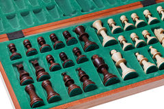 Set of chess pieces packed in box Stock Images