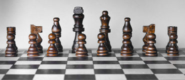 Set of chess pieces in a row horizontal photo. Stock Image