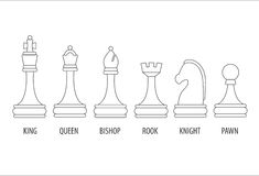 Set of chess pieces. Set of six chess pieces, vector illustration Stock Images