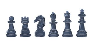 Set of chess pieces. Vector illustration. Set of chess figures in flat design. Vector illustration. Black chess pieces, isolated on white background Royalty Free Stock Image