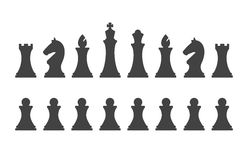 Set chess pieces  on white background. Chess pieces including the king, queen, bishop, knight, rook and pawn in flat style Stock Photography