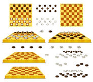 Set of Chessboard and Checkers Isolated on White Background Stock Photos