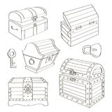 Set of chest. Set of wooden chests. Open empty chest, full of gold chest and closed with lock chest. Vector illustration, EPS 10 stock illustration