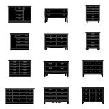 Set of chests of drawers, vector illustration. Collection of chests of drawers, vector illustration stock illustration