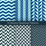 Set of 6 Chevron Seamless Patterns. Navy Color. Set of 6 Chevron Seamless Patterns. Every Pattern is on a Separate Isolated Layer. Vector Backgrounds for Royalty Free Stock Photo