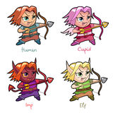 Set of chibi boy characters. royalty free stock photos