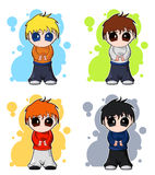 Set of chibi vector cute boys. Set of anime character in colorful variations. Japaneese style of drawing. Cute and interesting Royalty Free Stock Images