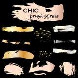 Set of chic grunge golden ink brush strokes. Vector illustration   Stock Photography