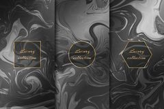 Set of chic marble backgrounds vector illustration