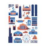 Set of Chicago landmarks in rectangle shape Stock Images