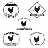 Set chicken and eggs farm logo emblem. Natural and fresh farm. Royalty Free Stock Photography