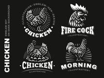 Set chicken emblem on dark background Royalty Free Stock Images