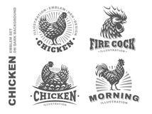 Set chicken emblem on white background Royalty Free Stock Image