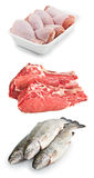 Set chicken, meat and fish on white Royalty Free Stock Photo