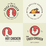 Set of chicken meat logo, badges, banners, emblem and design elements for food shop and restaurant. Royalty Free Stock Photos