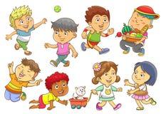 Set of child activities routines. Stock Photos