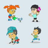 Set of child activities routines vector pack Stock Photo