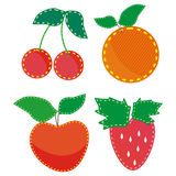 Set of child colored applique. Fabric, fruit and berries Royalty Free Stock Photos