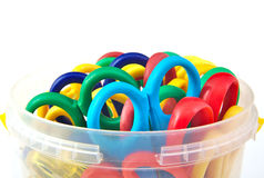 Set of child colourful scissors on a white Stock Image