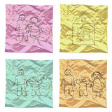 Set of child drawings on cover paper Stock Photography