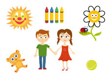 Set of child elements. Playing children Cartoon  set. Series of children's icons. Cute illustration of children. Vector children world. Children's illustration Royalty Free Stock Photography