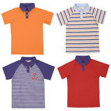 Set of child polo shirts isolated on white Royalty Free Stock Photos