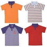 Set of child polo shirts isolated on white Royalty Free Stock Photos