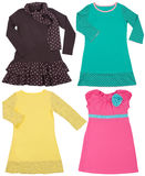 Set of child's dresses. Isolated on white Royalty Free Stock Photo