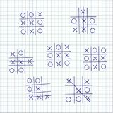 Set child`s game tic-tac-toe on a sheet of paper, Stock Image