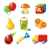 Set of child's pictures. For a kindergarten stock illustration