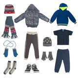 Set of child winter clothing Stock Images