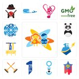 Set of childcare, superstar, seaman, all in one, streetbrush, , 75th anniversary, panda mascot, ferris wheel icons. Set Of 13 simple editable icons such as Royalty Free Stock Images
