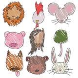 Animal heads. Set of childish hand drawn animal heads Royalty Free Stock Photos
