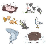 Hand drawn animals. Set of childish hand drawn animals, no use of transparency or gradients Stock Images