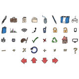 Icons. Set of childish hand drawn icons Royalty Free Stock Images